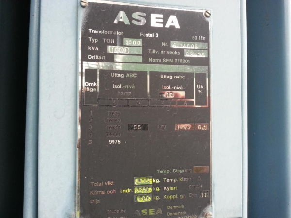 ASEA 1000 kVA (10×0.4)